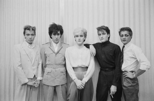 JAPAN - 1st DECEMBER: English rock band Japan pose together in Japan during their final tour in December 1982. Left to Right: Masami Tsuchiya, Richard Barbieri, David Sylvian, Steve Jansen, Mick Karn. (Photo by Fin Costello/Redferns)