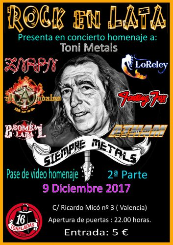 Rock en lata (Concierto homenajea Toni Metals) @ 16 Toneladas | València | Comunidad Valenciana | España