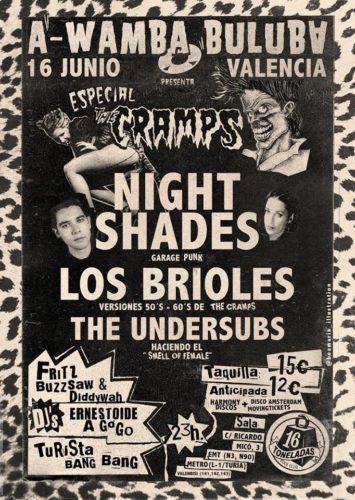 Night Shades + Los Brioles + The Undersubs (Tribute Cramps) @ 16 Toneladas | València | Comunidad Valenciana | España